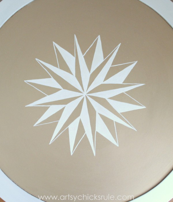 Modern Masters Metallic Paint Makeover - Compass Rose Table - top finished compass rose - artsychicksrule.com #metallicpaint #furniture #compassrose #nautical #coastal