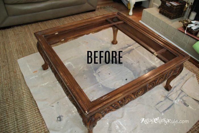 DIY Tufted Ottoman BEFORE artsychicksrule.com
