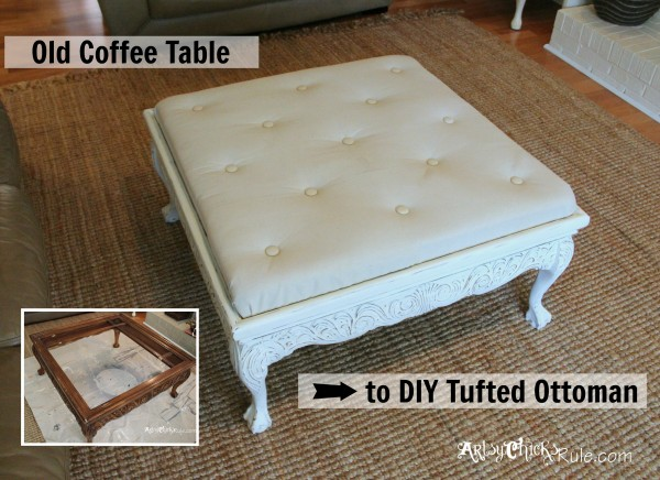 Thrifty Coffee Table turned Ottoman - top after - artsychicksrule.com #coffeetable #ottoman #diy
