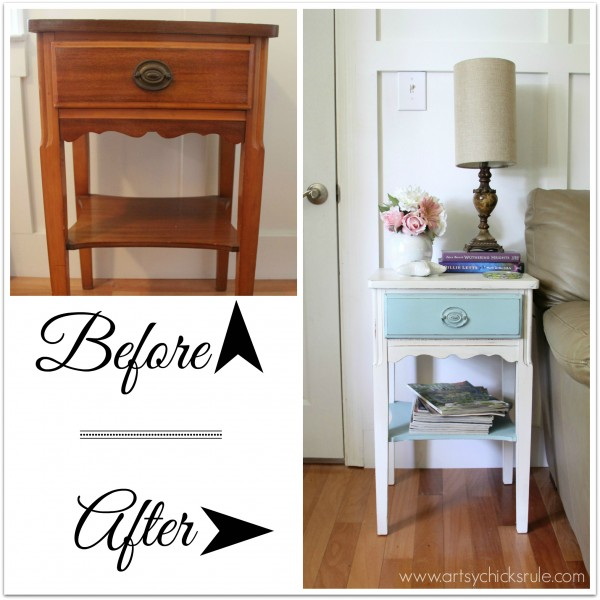 Thrifty End Table Makeover - Chalk Paint - Before & After - artsychicksrule.com #chalkpaint #duckegg #shabby #coastal