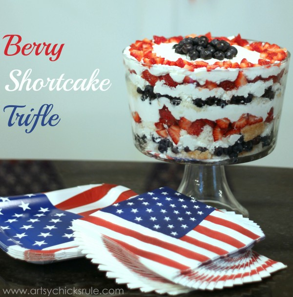 Berry Shortcake Trifle - Patriotic Recipe - artsychickrule.com #trifle #berry #dessert #recipe #patriotic