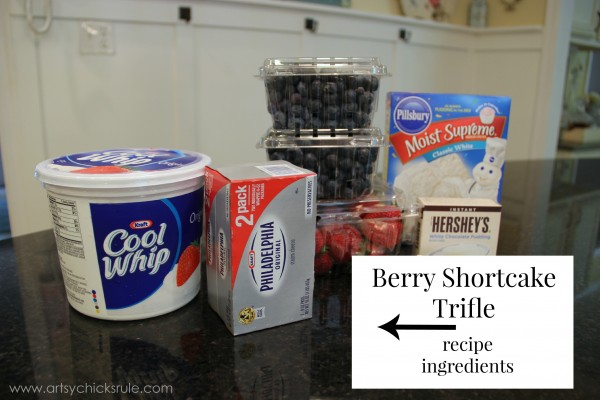 Berry Shortcake Trifle - Recipe Ingredients - artsychickrule.com #trifle #berry #dessert #recipe #patriotic