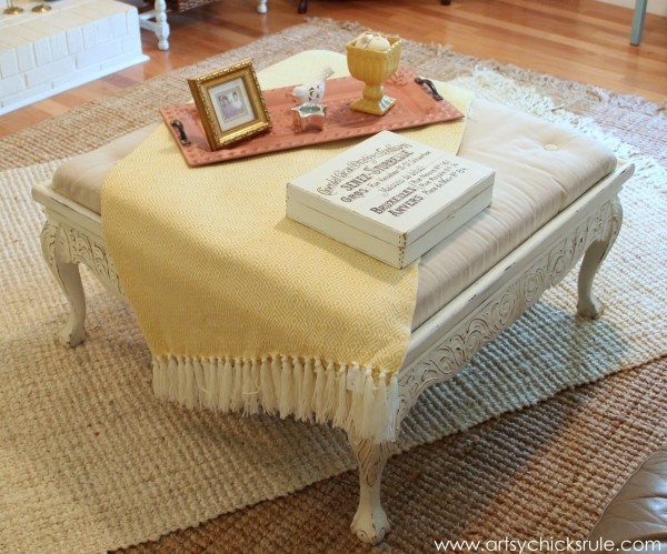 Coffee Table turned Ottoman - Yellow Throw Added- artsychicksrule.com #thrifty #diy #homedecor