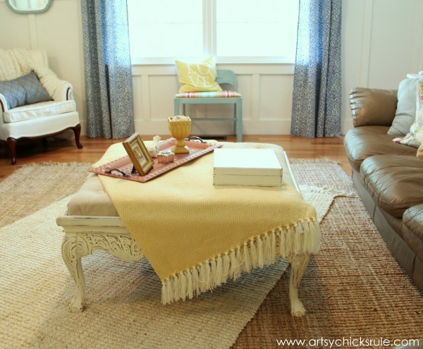 Coffee Table turned Ottoman - Yellow Throw- artsychicksrule.com #thrifty #diy #homedecor
