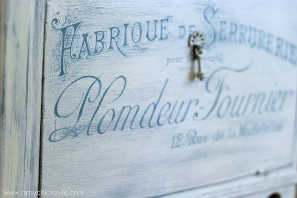French Fabulous Cabinet Makeover - Graphics Done #chalkpaint -artsychicksrule.com