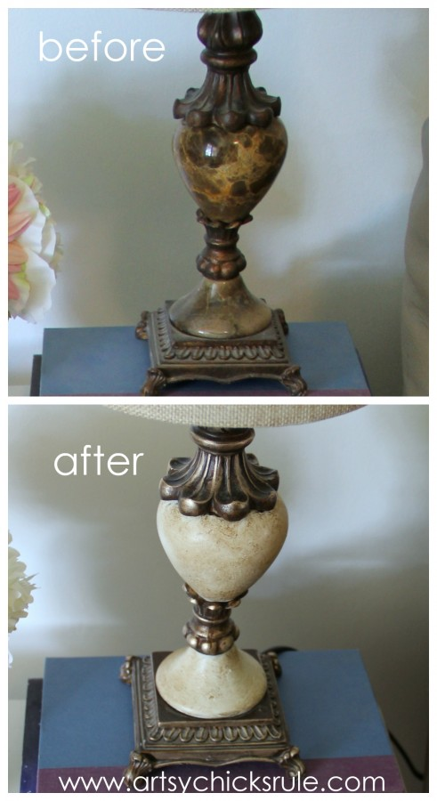 Lamp Makeover with Chalk Paint & Gold Edges - Before & After -artsychicksrule.com #thrifty #chalkpaint #homedecor