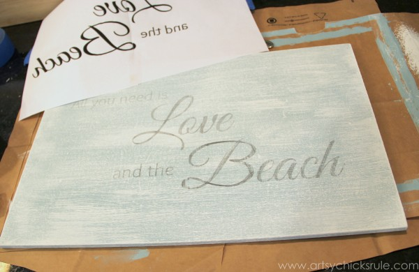 Love & the Beach - DIY Sign Tutorial - EASY transfer method -artsychicksrule.com #thrifty #homedecor #beach #sign #coastal #diy