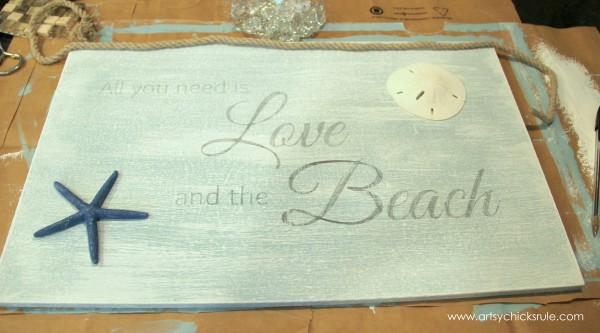 Love & the Beach - DIY Sign Tutorial - Shells -artsychicksrule.com #thrifty #homedecor #beach #sign #coastal #diy