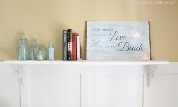 Love & the Beach - DIY Sign Tutorial - bookshelf -artsychicksrule.com #thrifty #homedecor #beach #sign #coastal #diy