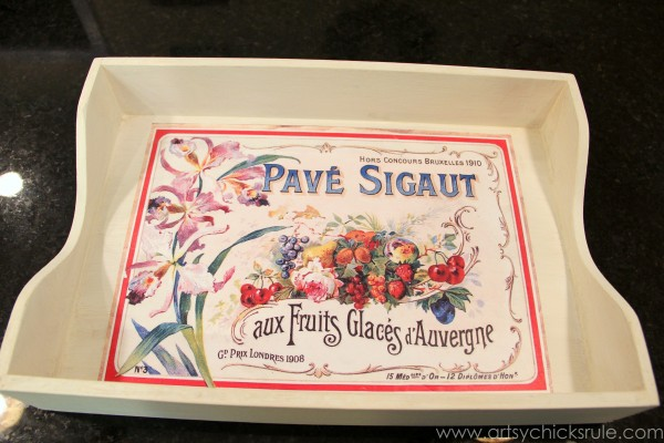 Old Letter Tray -to- Vintage French Fruit Tray {Thrifty DIY} - Applying Print -artsychicksrule.com #vintage #graphicsfairy #diy #chalkpaint
