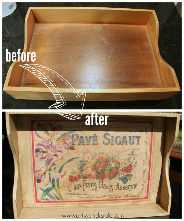 Old Letter Tray -to- Vintage French Fruit Tray {Thrifty DIY} - Before & After - artsychicksrule.com #vintage #graphicsfairy #diy #chalkpaint