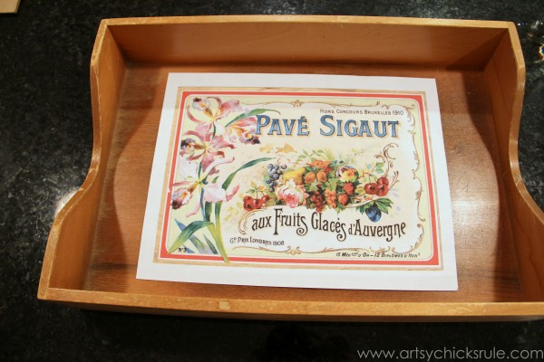 Old Letter Tray -to- Vintage French Fruit Tray {Thrifty DIY} - artsychicksrule.com #vintage #graphicsfairy #diy #chalkpaint