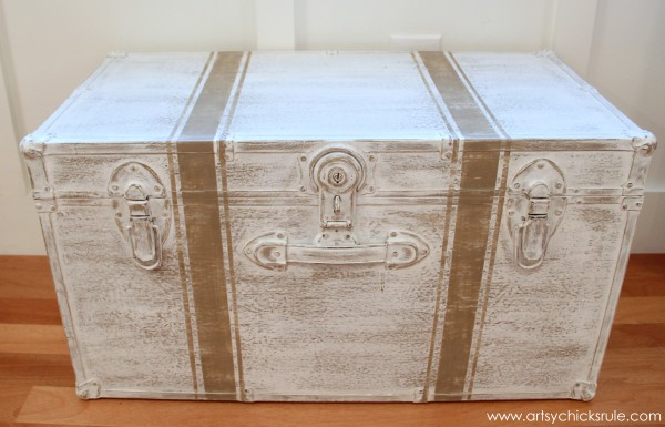 Travel Trunk  -Chalk Paint Makeover - After Distressed- artsychicksrule.com - #chalkpaint #makeover #trunk #coco