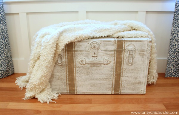 Travel Trunk  -Chalk Paint Makeover - After Throw- artsychicksrule.com - #chalkpaint #makeover #trunk #coco