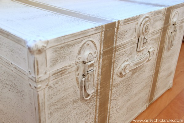 Travel Trunk  -Chalk Paint Makeover - After Up Close- artsychicksrule.com - #chalkpaint #makeover #trunk #coco