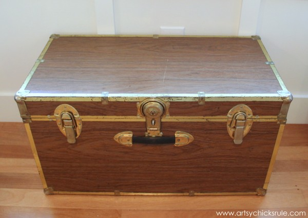 Travel Trunk  -Chalk Paint Makeover - Before Front- artsychicksrule.com - #chalkpaint #makeover #trunk #coco