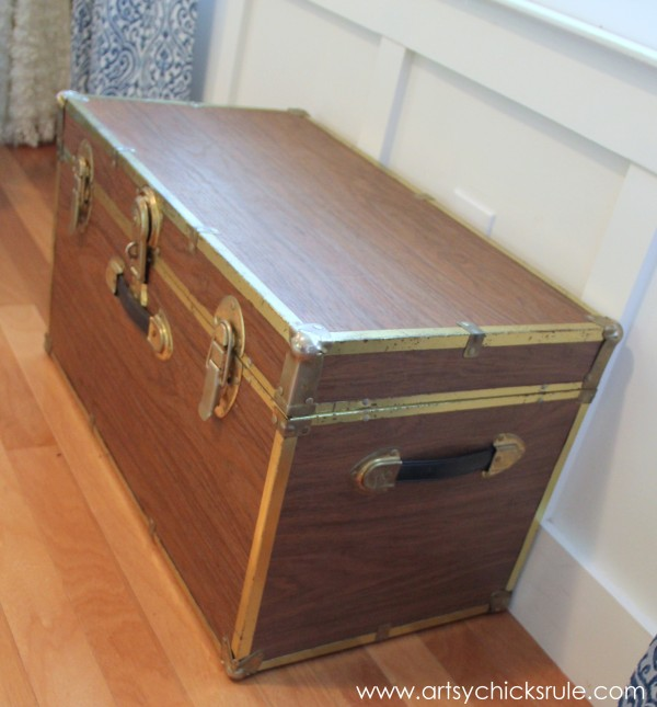 Travel Trunk  -Chalk Paint Makeover - Before Side- artsychicksrule.com - #chalkpaint #makeover #trunk #coco