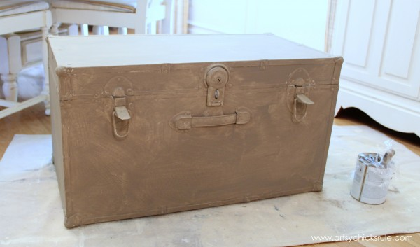Travel Trunk  -Chalk Paint Makeover - Coco Layer- artsychicksrule.com - #chalkpaint #makeover #trunk #coco