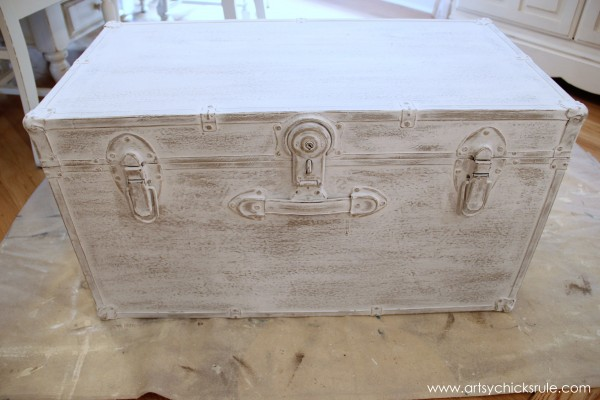 Travel Trunk  -Chalk Paint Makeover - Distressing- artsychicksrule.com - #chalkpaint #makeover #trunk #coco