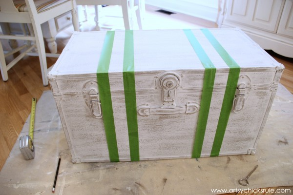 Travel Trunk  -Chalk Paint Makeover - Grain Sack Stripes Taped- artsychicksrule.com - #chalkpaint #makeover #trunk #coco