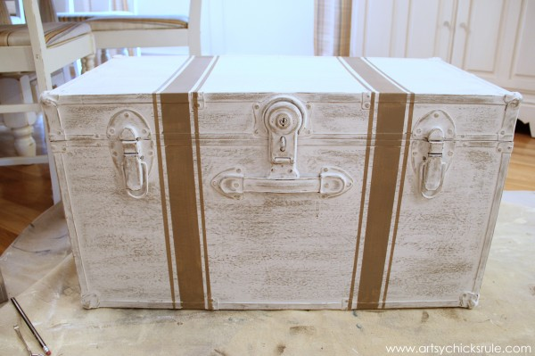 Travel Trunk  -Chalk Paint Makeover - Grain Sack Stripes- artsychicksrule.com - #chalkpaint #makeover #trunk #coco