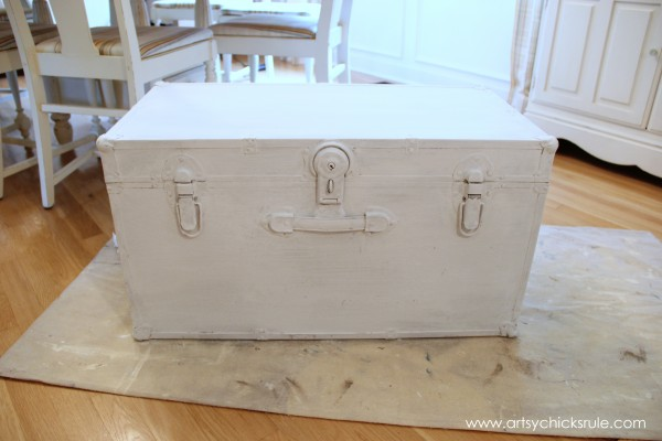 Travel Trunk  -Chalk Paint Makeover - Pure White Over Coco- artsychicksrule.com - #chalkpaint #makeover #trunk #coco