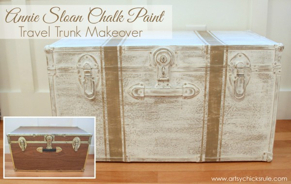 Travel Trunk  -Grain Sack Stripes - Makeover - Before and After - artsychicksrule.com - #chalkpaint #coco #grainsackstripes