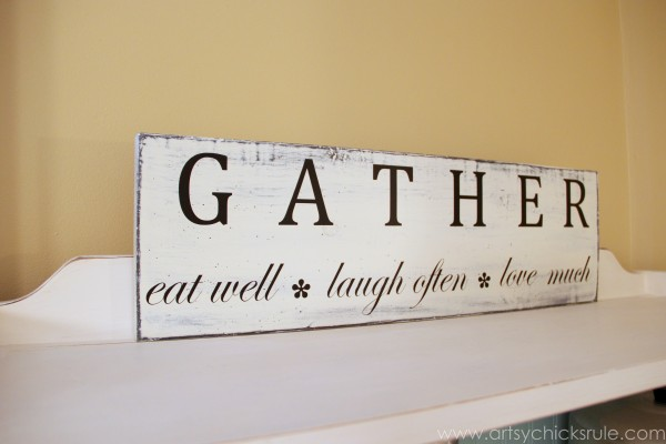 'Gather' Kitchen Sign - Silhouette Cameo Review - Side - artsychicksrule.com #silhouette #cameo #sign