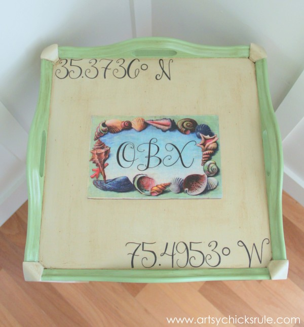 OBX Latitude and Longitude Table {Numbers Theme Tour} - Top View - #chalkpaint #OBX #antibesgreen #countrygrey artsychicksrule.com