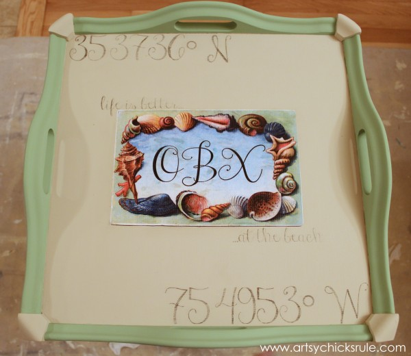 OBX Latitude and Longitude Table {Numbers Theme Tour} - Transfer Lettering - #chalkpaint #OBX #antibesgreen #countrygrey artsychicksrule.com