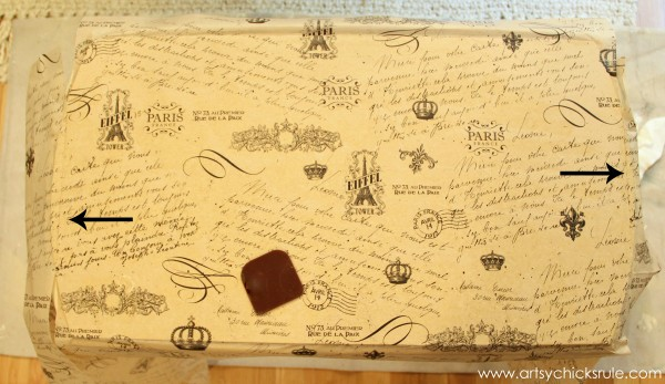 $5 Thrifty French Paper Decoupage Table Makeover - Applying paper -artsychicksrule.com #decoupage #french