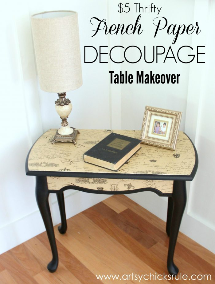 5 Thrifty French Paper Decoupage Table themed Makeover