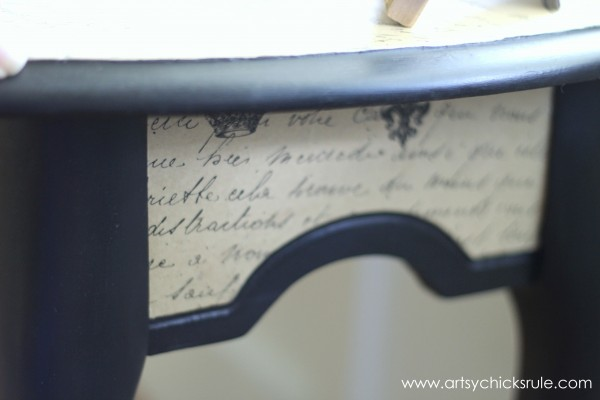 $5 Thrifty French Paper Decoupage Table Makeover - Small Side -artsychicksrule.com #decoupage #french