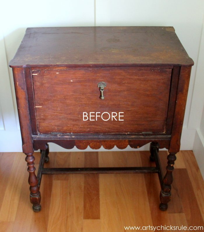 Paint and hand painted French graphics...WOW! What a difference! - BEFORE #chalkpaint -artsychicksrule.com
