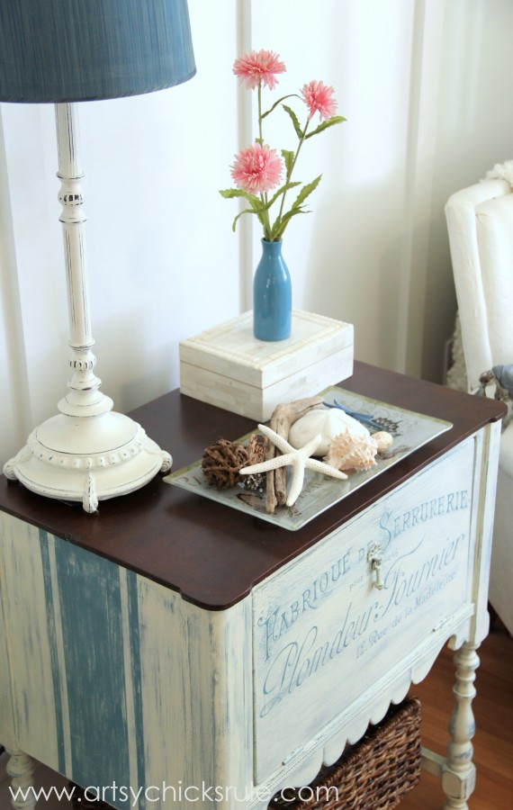 French Fabulous Cabinet Makeover - grain sack stripes