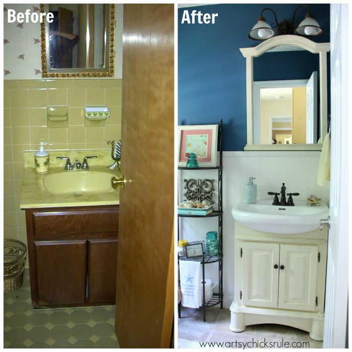 Bathroom Makeover Photos: Guest Bath Makeover On A Budget {Before & After}