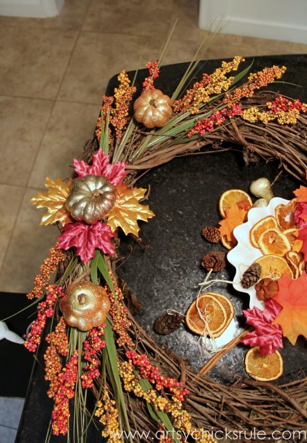 DIY Fall Wreath - Fall Themed Tour - Adding to - #fall #falldecor #diy artsychicksrule.com