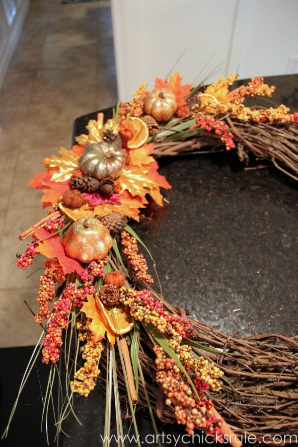 DIY Fall Wreath - Fall Themed Tour - Finished - #fall #falldecor #diy artsychicksrule.com
