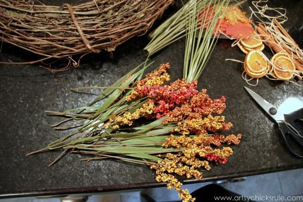 DIY Fall Wreath - Fall Themed Tour - Greenery - #fall #falldecor #diy artsychicksrule