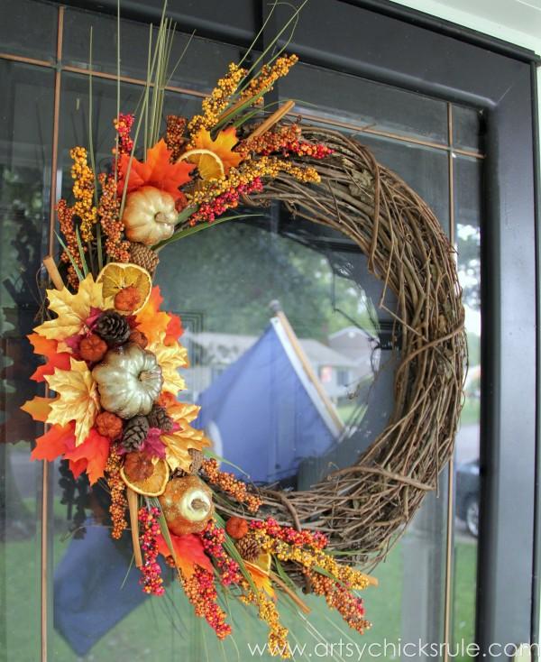 DIY Fall Wreath - Fall Themed Tour - On Exterior Glass Door - #fall #falldecor #diy artsychicksrule.com