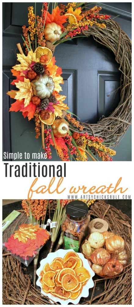 DIY Fall Wreath TRADITIONAL COLORS and SIMPLE to make too! artsychicksrule.com