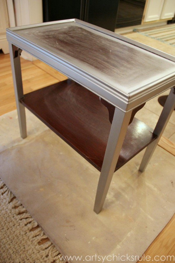 Two Tone Side Table Makeover - Themed Furniture Tour - First Vision - artsychicksrule.com #milkpaint #makeover #diy