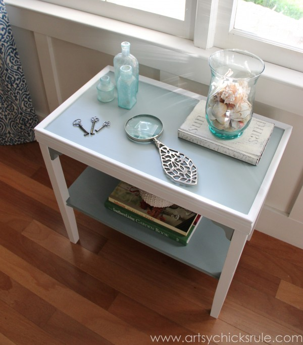 Two Tone Side Table Makeover - Themed Furniture Tour - artsychicksrule.com #milkpaint #makeover #diy (1)