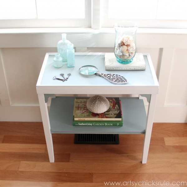 Two Tone Side Table Makeover - Themed Furniture Tour - artsychicksrule.com #milkpaint #makeover #diy (7)