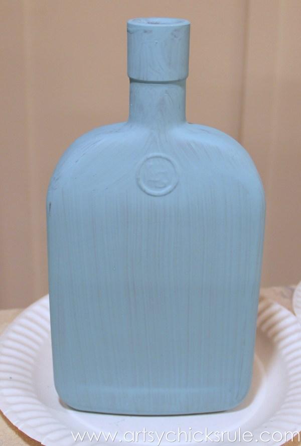 Easy, DIY Chalk Painted Bottles - Oil Rubbed Bronze- Provence - artsychicksrule.com #thriftydecor #chalkpaint #oilrubbedbronze