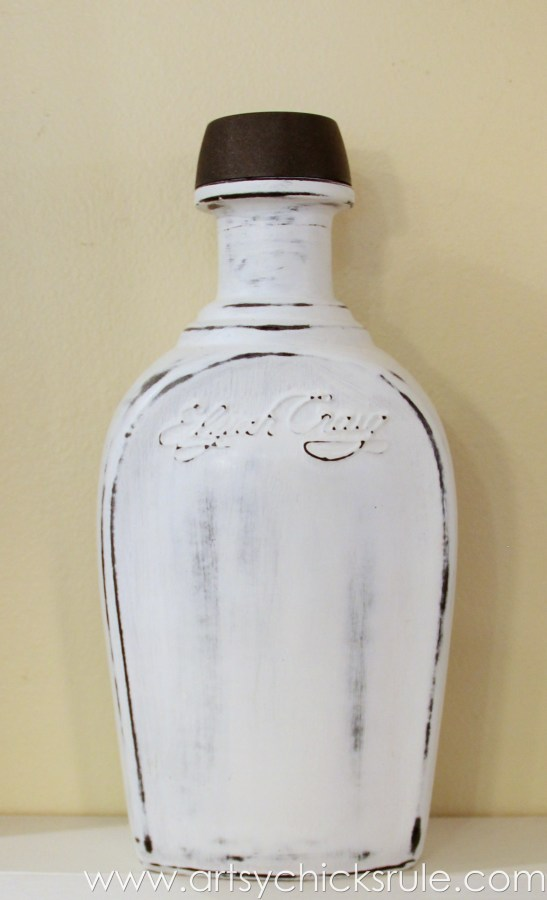 Easy, DIY Chalk Painted Bottles - Oil Rubbed Bronze- Pure White finished - artsychicksrule.com #thriftydecor #chalkpaint #oilrubbedbronze