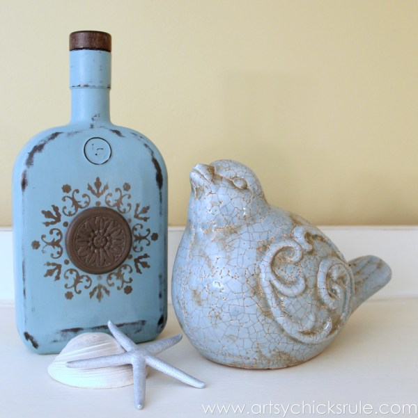 Easy, DIY Chalk Painted Bottles - Oil Rubbed Bronze- Styled Provence - artsychicksrule.com #thriftydecor #chalkpaint #oilrubbedbronze
