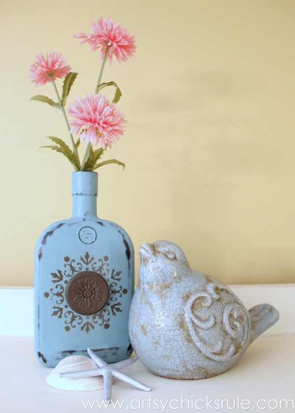 Easy, DIY Chalk Painted Bottles - Oil Rubbed Bronze- Styled with flowers - artsychicksrule.com #thriftydecor #chalkpaint #oilrubbedbronze