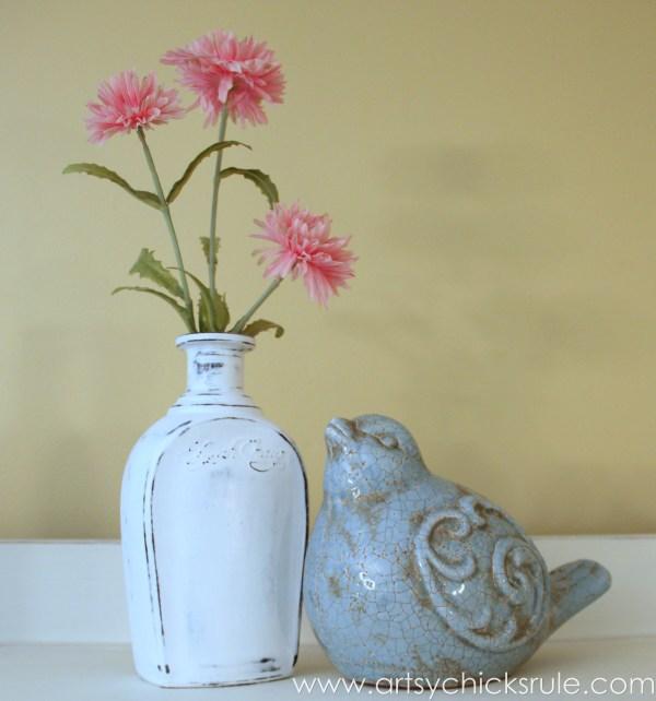 Easy, DIY Chalk Painted Bottles - Oil Rubbed Bronze- Styled1 - artsychicksrule.com #thriftydecor #chalkpaint #oilrubbedbronze
