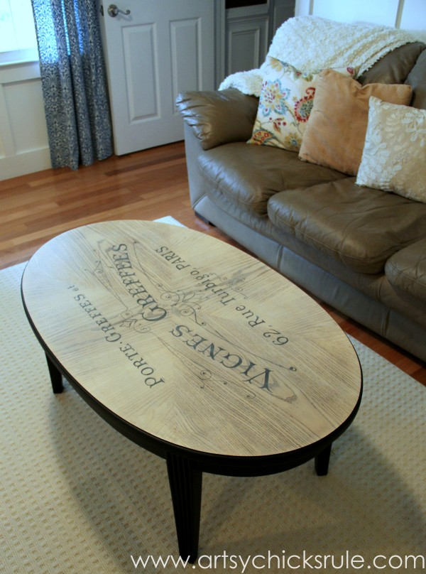 French Typography Coffee Table Makeover - After - artsychicksrule.com #milkpaint #chalkpaint #french #typography